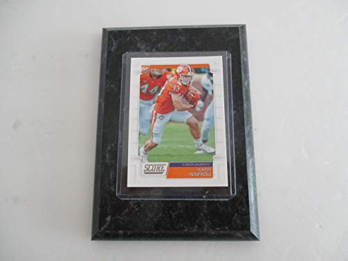 """HUNTER RENFROW CLEMSON UNIVERSITY 2019 NFL SCORE ROOKIE PLAYER CARD MOUNTED ON A 4"""" X 6"""" BLACK MARBLE PLAQUE"""