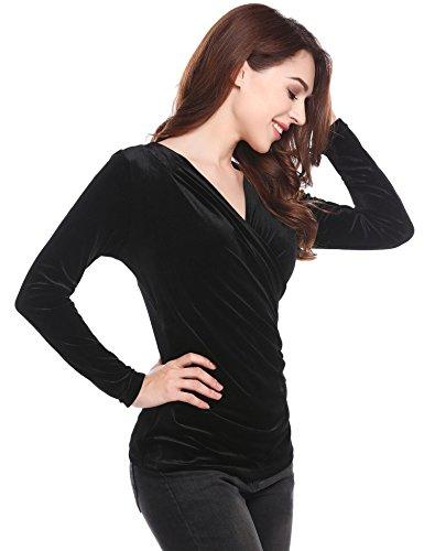 Tops V Col Tee Velours Lache Shirt Ruch en Meaneor Noir Femme Blouse Longue Manche wqzxYZ64