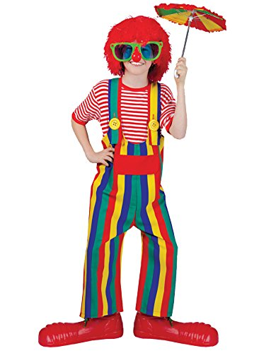 Morris Costumes STRIPED CLOWN OVERALLS CH MED 8-10 (Striped Clown Overalls Costume)