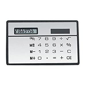Cideros 8 Digits Basic Calculator, 2 pcs Ultra Thin Mini Size Solar Powered Credit Card Design Pocket Calculator, White x 2pcs