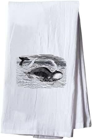Whale Vintage Look Dish Flour Sack Kitchen Towel