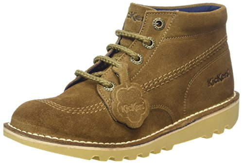 Kickers Youth Dark Sand Brown Suede Kick Hi Boots-UK (Youth Dark Brown Suede Footwear)