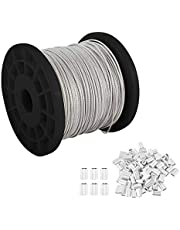 """YaeCCC 1/16"""" 304 Stainless Steel Wire Rope, 7x7 Strand Core, 328ft Length, 368 lbs Breaking Strength with 100 Pcs Cable Ferrule"""