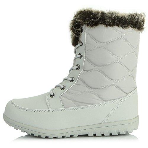 Dailyshoes Womens Confortable Bout Arrondi Plat Cheville Haute Eskimo Fourrure Dhiver Bottes De Neige Lumière Gris Pu