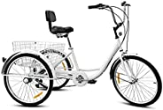 Adult Tricycles 7 Speed, Adult Mountain Trikes 24 Inch, 3 Wheel Bikes Bicycles Cruise Trike, with Rear Shoppin