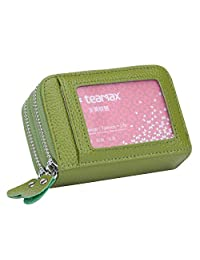 MuLier Genuine Leather RFID Blocking Coin Pouch Card Holder Wallet - Prevent Electronic Credit Card Scan Theft Green