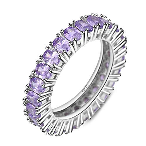 Kalapure Platinum Plated Pink Purple Crystal Zirconia Eternity Ring Matching Channel Wedding Band Women Anniversary Day Gift (Purple, 8)