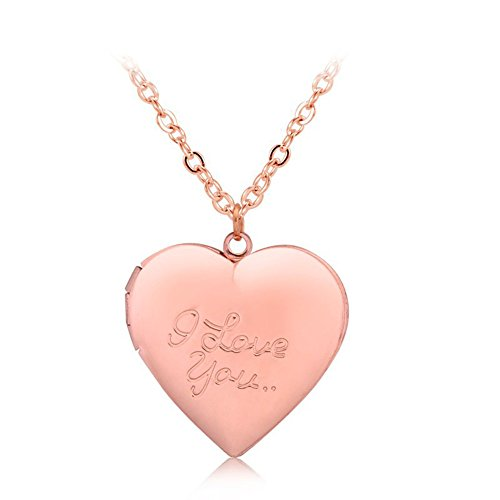 Love Heart Locket Pendant Necklace Engraved