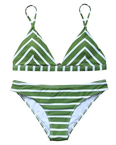 Green Stripe Halter (MOSHENGQI Women Cute Swimsuits Tie Dye Push up Padded Bathing Suits Bikini Stripe (S(US 2-4),Green))
