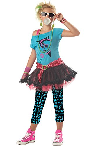 80's Valley Girl Child Costume, Blue, Medium (8-10) (Tween Leggings)