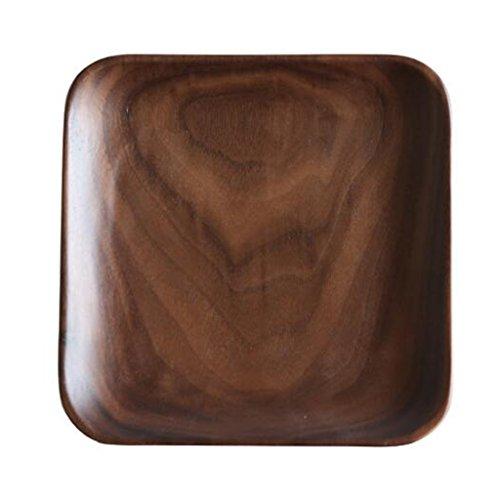 Plates Logs Household Dessert Plates Fruit Plates, Kitchen Square Plates, Plates Salad Plates Wood (Color : Brown, Size : 15.215.22.5cm)