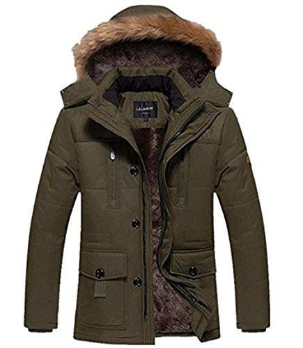 Khaki Warm Zipper Front Coat Long Hooded Apparel with Jacket Sleeve Jacket Coat Pockets Jackets Outerwear Men's Lapel UHqwaSU