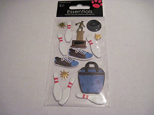 (Sticker Scrapbooking Sandylion Bowling Pins Ball Shoes Trophy Bag Gold Stars)