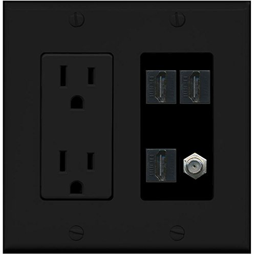 RiteAV - (2 Gang Decorative) 15A Power Outlet 3 HDMI Black Coax Black Wall Plate Black