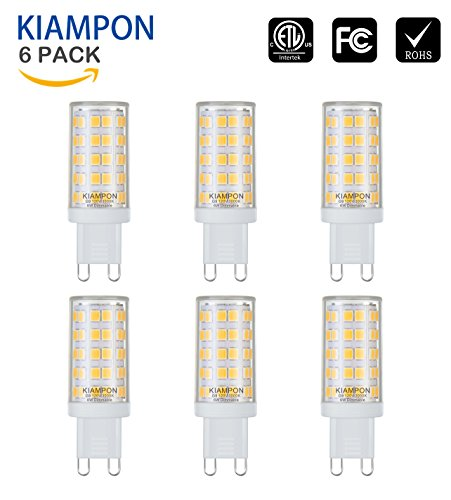 KIAMPON Dimmable G9 LED Bulb 6W for 60W Halogen Bulb Equivalent Warm White 3000K 6 Pack