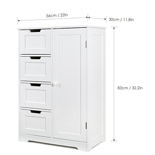 HOMFA Bathroom Floor Cabinet, Wooden Free Standing Storage Cabinet Side Organizer Unit with 4 Drawer and 1 Cupboard, White