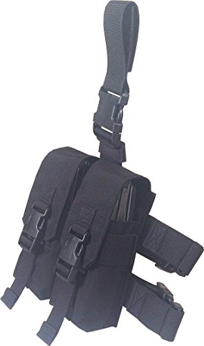 Fire Force Drop Leg M4/M16 Double Mag Pouch Holds 4 Made in USA (Black)