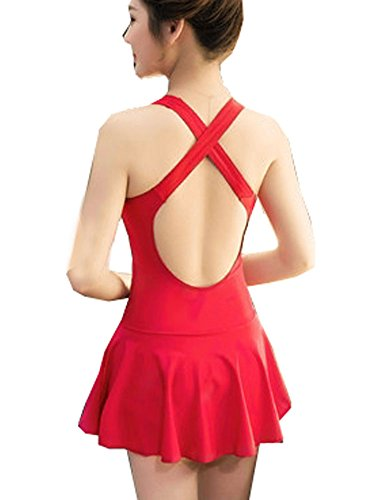 SameTop - Traje de una pieza - ajustado - para mujer Backless Red