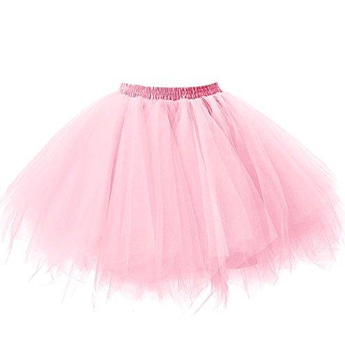 Pink Long Shorts - Danadress Women's 1950s Petticoat Slips Tulle Ballet Dance Tutu Short Skirt Pink L-XL