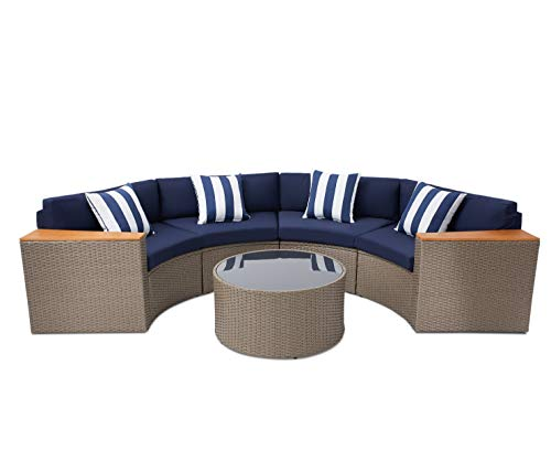 SOLAURA Outdoor Patio 5-Piece Sectional Furniture Half-Moon Sofa Gray Wicker Navy Blue Cushions & Sophisticated Glass Coffee Table