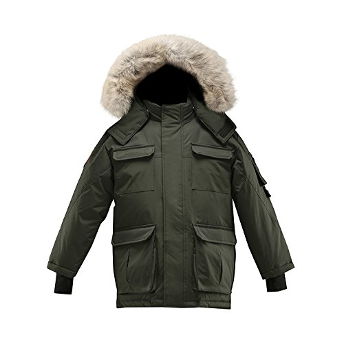 Triple F.A.T. Goose Chenega Boys Hooded Goose Down Arctic Snorkel Parka Jacket With Real Coyote Fur (7, Olive) by Triple F.A.T. Goose