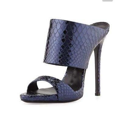 Moda sandalias de tacón alto color puro Roma moda sandalias de tacón alto de la fregona fresca Blue texture