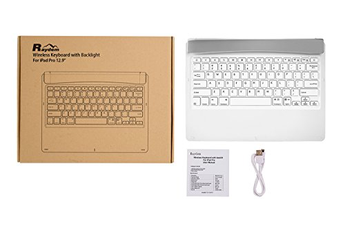iPad Pro 12.9 inch Keyboard with 7-Colors Backlight, Raydem Ultra Slim Wireless Bluetooth Keyboard Folio 130 Degree Multi-Angle with Auto Wake/Sleep for Apple iPad Pro 12.9 inch(All Versions) White by Raydem (Image #9)