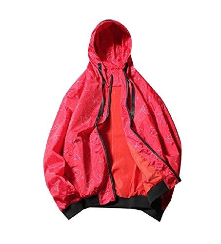 with Windproof Men Outdoor Printed XINHEO Zip Drawstring Hood Coat Red a5qZdCw