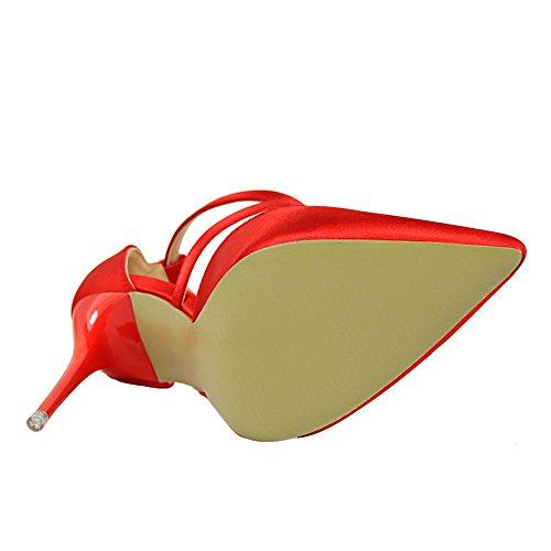 z&dw Fina con estilo con tacones altos satinado punta poco profunda correa cruzada Sexy sandalias delgadas Rojo