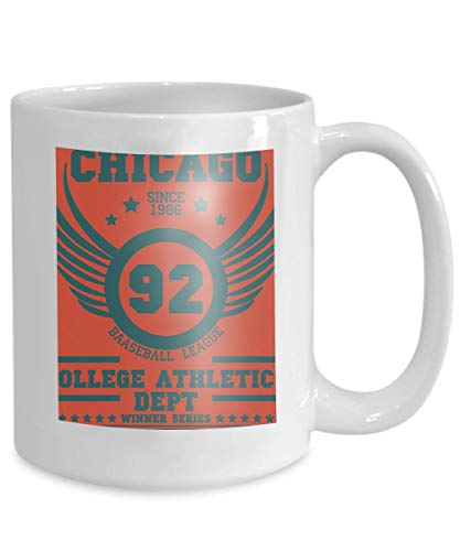mug coffee tea cup graphics chicago sport wear typography emblem stamp vintage athletic apparel design graphic print 110z