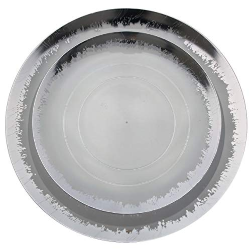 Plum And Silver Wedding (Trendables 60 Pack Combo Plastic Plates Set - 30-10.25 inch. Plastic Dinner Plates & 30-8 inch. Dessert Disposable Plates - Clear Plastic Plates For Parties With A Silver Scratched Design)