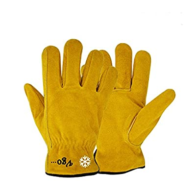 Vgo. Lined Cowhide Split Leather Work and Driver Gloves, For Heavy Duty/Truck Driving/Warehouse/Gardening/Farm/Cold Storage