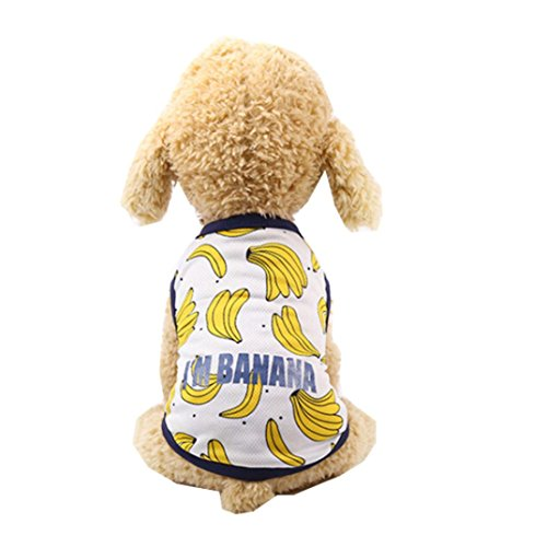 Wakeu Pet Supplies Pet Couples Clothes Puppy Small Dog Girl Boy I'M Banana Dress Shirt (XS, Shirt)