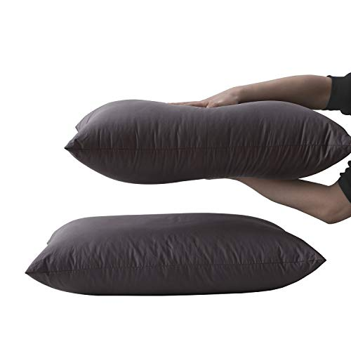 Home Pillow Premium Goose Down Filled - Supportive Soft Cotton Shell for Back Side Stomach Sleepers - Washable, Standard Size, Grey, 20''x28''