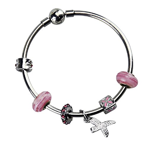 Silver Plated Bangle Bracelet with Charms for Pandora 7.5 inch Pink Christmas and Birthday Gift for Girl 10 Year Old and Teenage Jewelry DIY Hand Made Glass Beads Birthstones - Key Glasses Tiffany