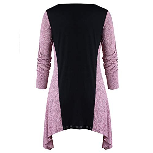 NUWFOR Fashion Women Plus Size Cross O-Neck Color Block Patchwork Irregular Top Blouse(Pink,20 US Bust:44.1
