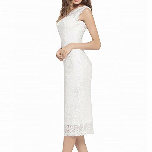 Body Summer HJZW002 Cocktail Party DISSA Con Dress Sleeveless Women Vintage White Maxi Ownzqg