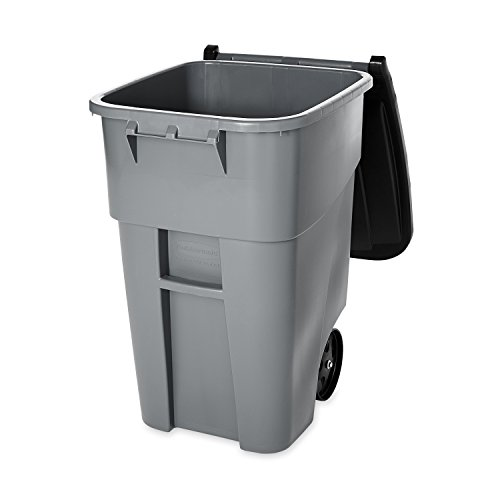 Rubbermaid Commercial BRUTE Recycler Rollout Trash Can with Hinged Lid, 50 Gallon, Gray