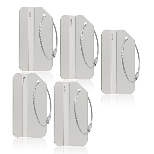 5Pack Silver Color Aluminum Luggage Tag With Name ID Card Perfect to Quickly Spot Luggage Suitcase By CPACC