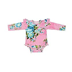 Baby Girl's Long Sleeve Ruffles Romper Dresses Clothing (M(7-12 months), pink)