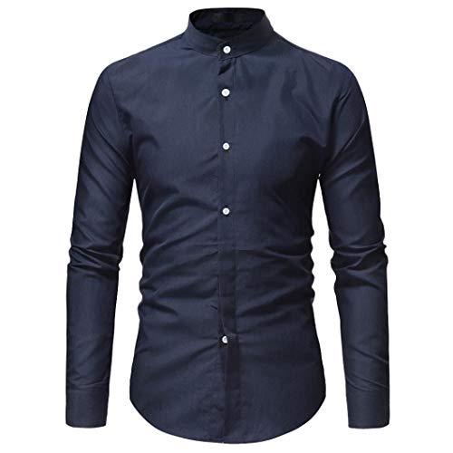- Anyren Men Shirt Cool Autumn Winter Luxury Long Sleeve Casual Slim Fit Stylish Dress Shirts (Navy, L)