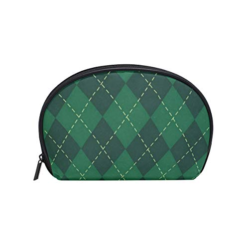 Small Shell Cosmetic Beauty Bag Green Clover Lattice Half Moon Travel Handy Organizer Clutch Pouch