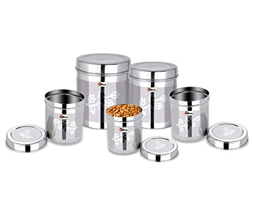EBun-Stainless-Steel-Set-of-5-Canisters-Containers-Ubha-Dabba-with-lid-for-Kitchen-Storage-8501200140019502500-GMS-Floral-Design