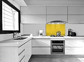 Compra Vidriopanel Panel DE Vidrio para Cocina en Diferentes Medidas y Colores/Cristal de Protección Salpicaduras para frentes de cocinas (120x55 cm, Amarillo) en Amazon.es