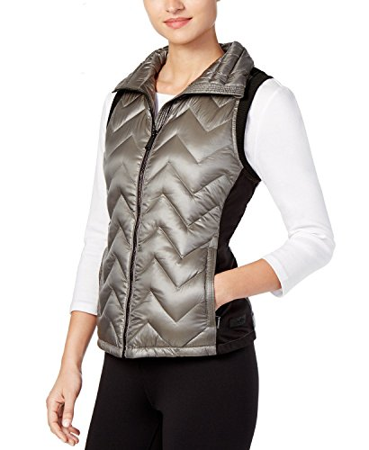 - Calvin Klein Performance Womens Quilted Down Vest, Metallic Olive , XX-Large