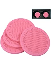 Car Coasters, Wisdompro 4 Pack PVC Car Cup Holder Insert Coaster - Anti Slip Universal Vehicle Interior Accessories Cup Mats for Women