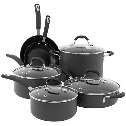 Non Stick Kitchen Set With Price: Oneida 10pc Aluminum Hard Anodized PFOE/PTFE Free Non