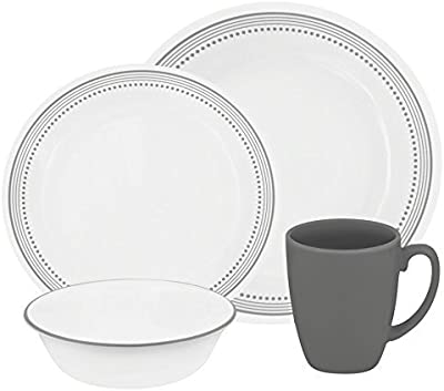 Corelle Livingware 32-Piece Dinnerware Set, Mystic Gray, Service for 8 (Two