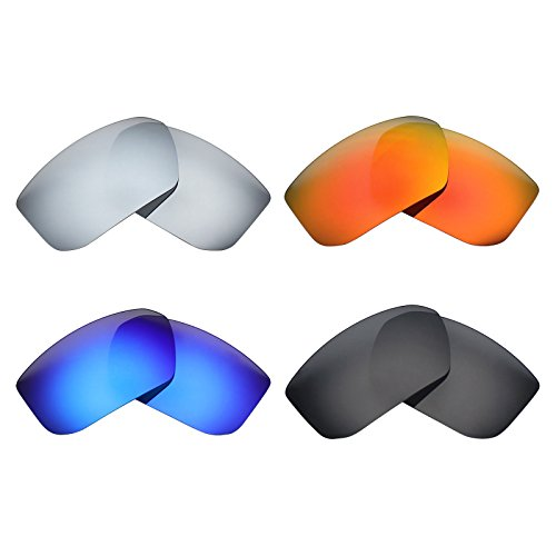 MRY 4 Pairs POLARIZED Replacement Lenses for SPY Optic Mccoy Sunglasses-Stealth Black/Fire Red/Ice Blue/Silver Titanium