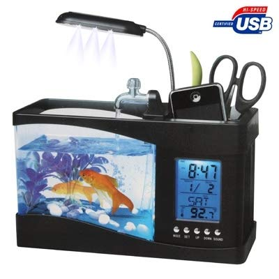 Good-looking USB Desktop Aquarium Mini Fish Tank with Running Water and 6 LED Light, LCD Clock Display with Calendar, Alarm and Time(Holds 1.5 Quarts of Water)